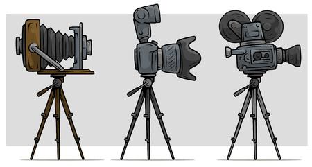 Cartoon movie and photo camera on tripod set Vettoriali
