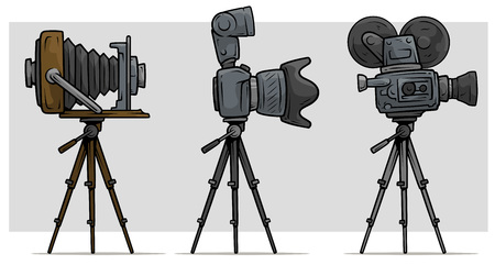 Cartoon movie and photo camera on tripod set Illustration