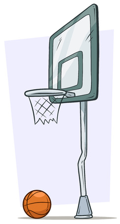 Cartoon street basketball hoop and orange ball