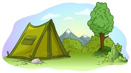 Cartoon green camping tent on grass lawn