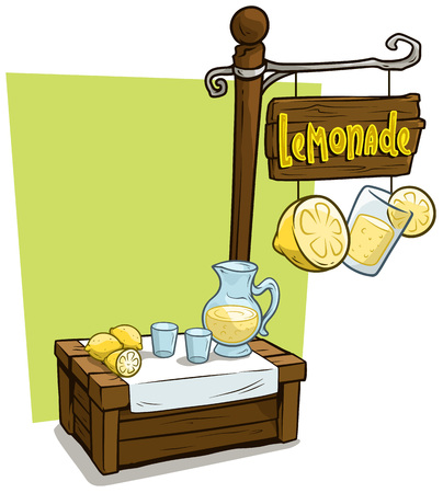 Cartoon fresh lemonade vendor booth or shop market wooden stand. Wooden sign with text Lemonade. Vector icon for game. Иллюстрация