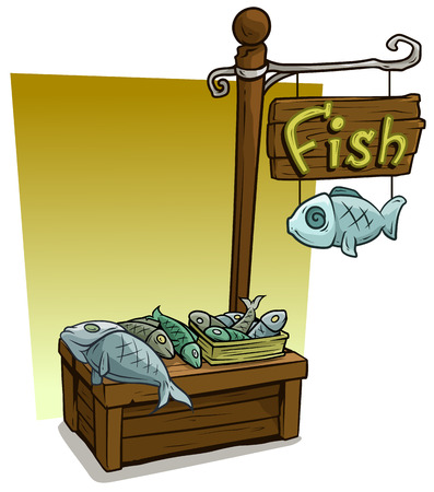Cartoon fresh fish vendor booth or shop market wooden stand. Wooden sign with text Fish. Vector icon for game.