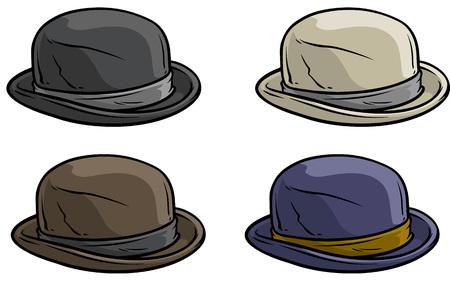 Dessin animé vieux gentleman chapeau rétro vector icon set Vecteurs
