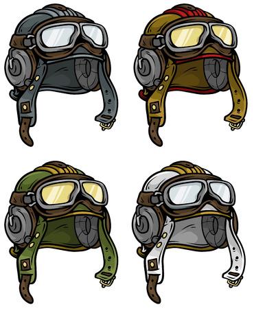 Cartoon retro aviator pilot helmet vector icon set