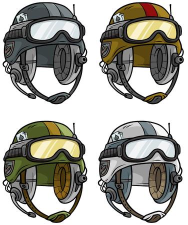 Cartoon modern army helmet vector icon set