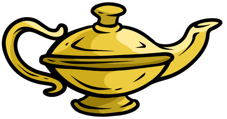 Cartoon old yellow gold genie lamp. Isolated on white background. Vector icon. Vettoriali
