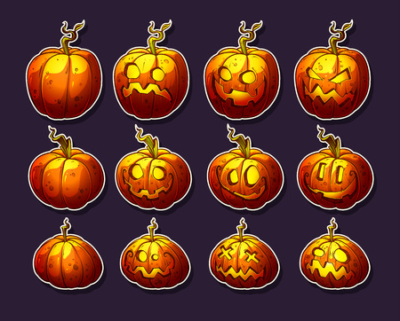 Cartoon colorful funny halloween pumpkins with different face emotions and fire inside. On dark background. Vector icon set.