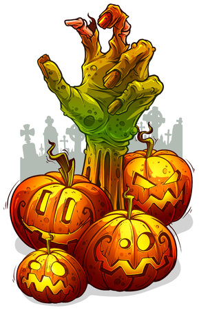 Cartoon scary green zombie monster hand and funny halloween angry pumpkins with fire light inside. On white cemetery background. Vector icon.