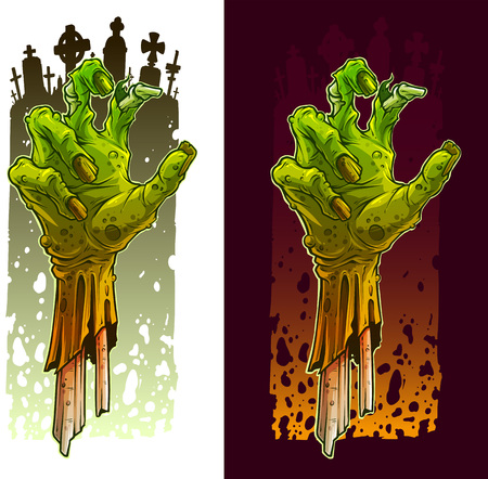 Cartoon scary green zombie monster hands. On cemetery background. Halloween vector icon set. Ilustrace