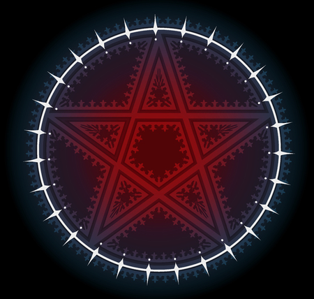 Red five pointed pentagram star with ornament in white circle. On black background. Vector icon.
