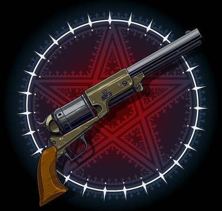 Alter Revolver mit rotem Pentagrammstern