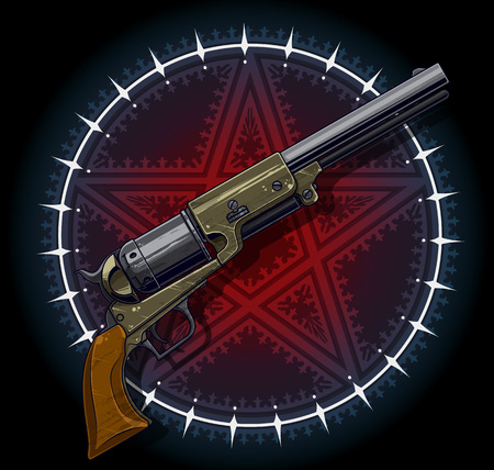 Old revolver with red pentagram star