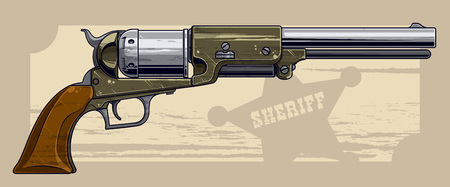 Graphic detailed old revolver with sheriff star