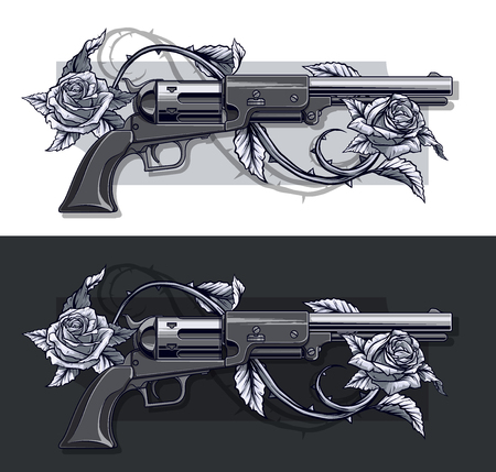 Graphic detailed old revolvers set with roses Illustration