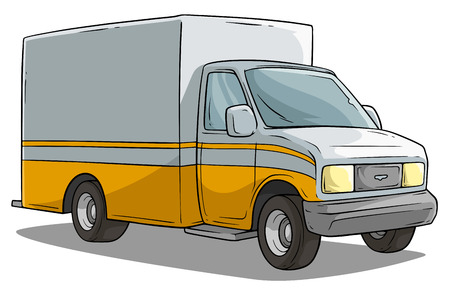 Cartoon freight transportation yellow cargo truck