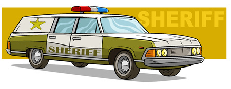 Cartoon green sheriff long retro police car with golden badge and blue red flasher on yellow background. Vector icon. Illustration