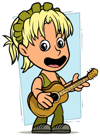 Cartoon white cute standing and singing flat blonde girl character with wooden acoustic guitar on blue background. Vector icon.