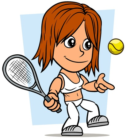Cartoon white cute flat redhead girl character palying tennis on blue background. Vector icon. Ilustracja