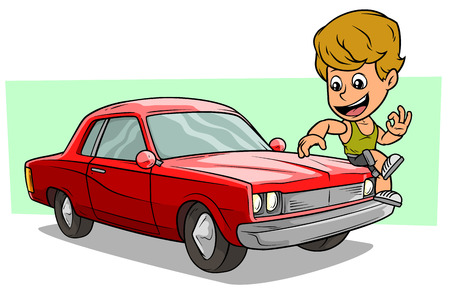 Cartoon white cute flat blonde boy character sitting on cool red american retro muscle car. Vector icon.