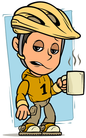 Cartoon white cute sleepy cyclist boy character in protective bicycle helmet standing with cup of coffee on blue background. Vector icon.