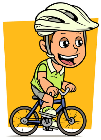 Cartoon white cute smiling flat brunette fat boy character riding on blue bicycle in protective helmet. On yellow background. Vector icon. Ilustracja