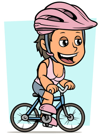 Cartoon white cute smiling flat brunette girl character riding on bicycle in pink protective helmet. On blue background. Vector icon.
