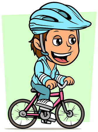 Cartoon white cute smiling flat brunette girl character riding on pink bicycle in protective helmet. On green background. Vector icon.