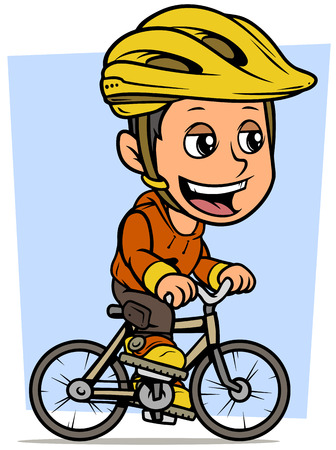 Cartoon white cute smiling flat brunette boy character riding on gray bicycle in protective helmet. On blue background. Vector icon.