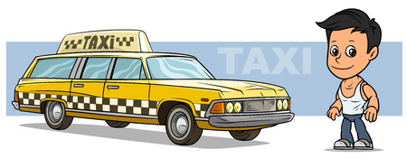 Cartoon white cute flat brunette boy character with cool yellow retro long taxi car with black and white squares on blue background. Vector icon.