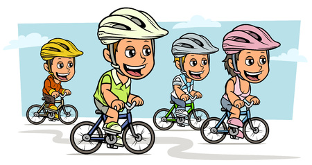 Cartoon white cute smiling flat girl and boy characters riding on bicycles in protective helmet. On blue background. Vector icon.