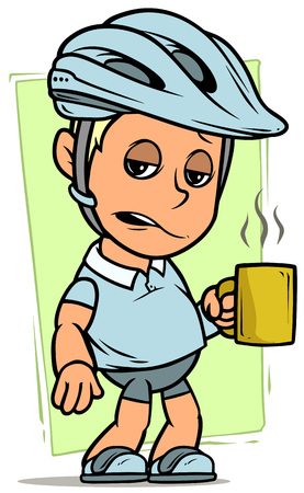 Cartoon white cute sleepy fat cyclist boy character in protective bicycle helmet standing with cup of coffee on green background. Vector icon. Ilustracja