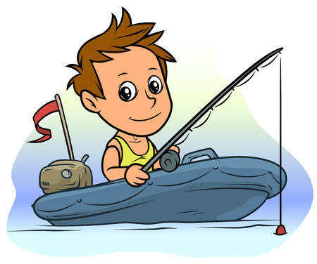 Cartoon white cute flat brunette boy character fishing on blue inflatable boat with motor and red flag. Vector icon.