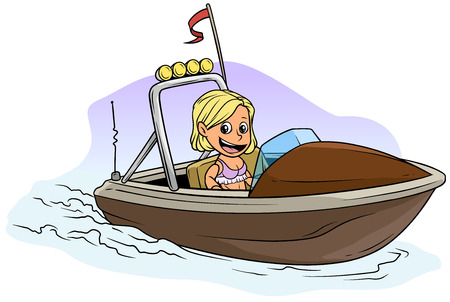 Cartoon white cute flat blonde girl character floats on small brown motor boat with red flag and radio antenne. Vector icon.