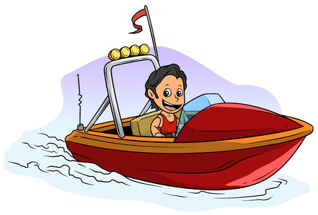 Cartoon white cute flat brunette boy character floats on small red motor boat with flag and radio antenne. Vector icon. Ilustracja