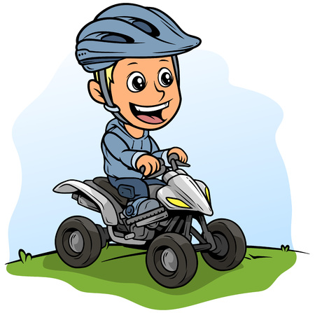 Cartoon white cute smiling flat blonde boy character driving off-road quad motorbike in protective helmet. On blue background. Vector icon.