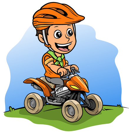 Cartoon white cute smiling flat brunette boy character driving off-road quad motorbike in protective helmet. On blue background. Vector icon.