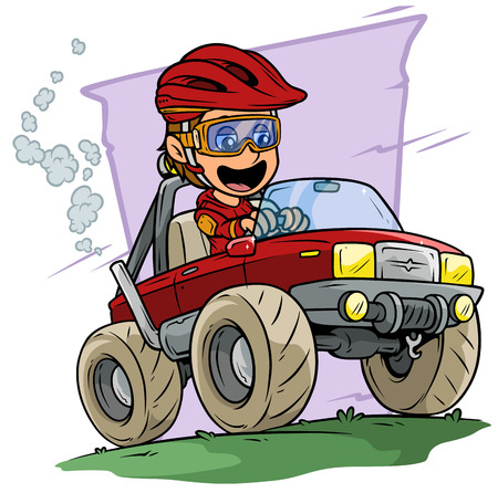 Cartoon white cute smiling flat brunette boy character driving big red off road monster truck in protective helmet and glasses. On violet background. Vector icon.