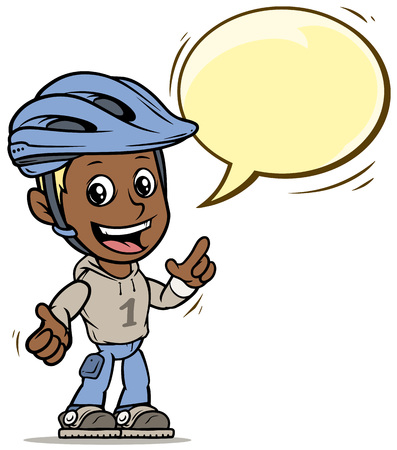 Cartoon black cute smiling flat blonde boy character in protective helmet with yellow speech bubble. Isolated on white background. Vector icon.