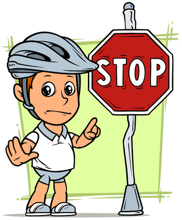 Cartoon white cute standing flat fat boy character in protective helmet with red stop traffic sign on steel pole. On green background. Vector icon.