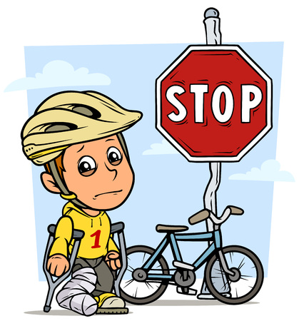 Cartoon white cute standing flat crying boy character in protective helmet with bicycle and red stop traffic sign on steel pole and broken leg in gypsum with crutches. On blue background. Vector icon.