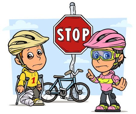 Cartoon white cute standing flat boy with broken leg in gypsum with crutches and girl characters in protective helmet with bicycle and red stop traffic sign. On blue background. Vector icon.