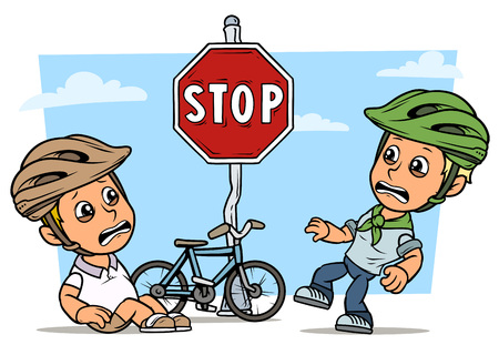 Cartoon white cute crying flat fat boys characters in protective helmet with bicycle and red stop traffic sign. On blue background. Vector icon. Ilustracja