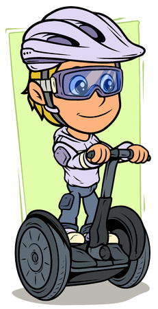 Cartoon white cute smiling flat blonde girl character riding on self-balancing electric scooter in protective helmet and glasses. On green background. Vector icon.