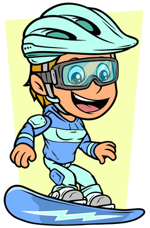 Cartoon white cute smiling flat blonde girl character riding on snowboard with blue lightning in protective helmet and glasses. On yellow background. Vector icon.
