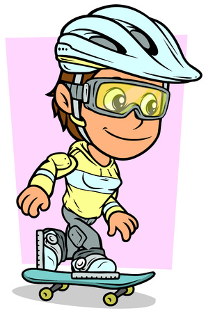 Cartoon white cute smiling flat brunette girl character riding on blue skateboard in protective helmet and glasses. On pink background. Vector icon.