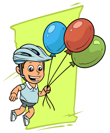 Cartoon white cute smiling flat fat boy character flying on colored air balloons in protective helmet. On green background. Vector icon.
