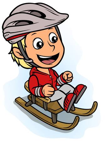 Cartoon white cute smiling flat blonde girl character riding on wooden brown sledge in protective helmet. Isolated on white background. Vector icon.