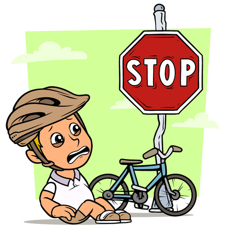 Cartoon white cute crying sitting flat fat boy character in protective helmet with bicycle and red stop traffic sign. On green background. Vector icon. Ilustracja