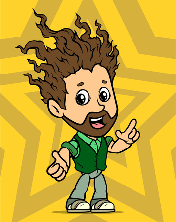 Cartoon white cute flat standing long haired bearded boy character. On yellow background with stars. Vector icon.