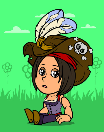 Cartoon white cute sitting tired brunette pirate girl character in hat with feathers and skull on green background. Vector icon.